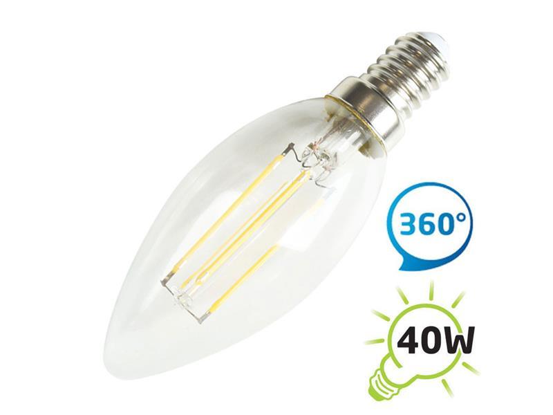 Žárovka LED C37 E14 4W retro bílá teplá TIPA
