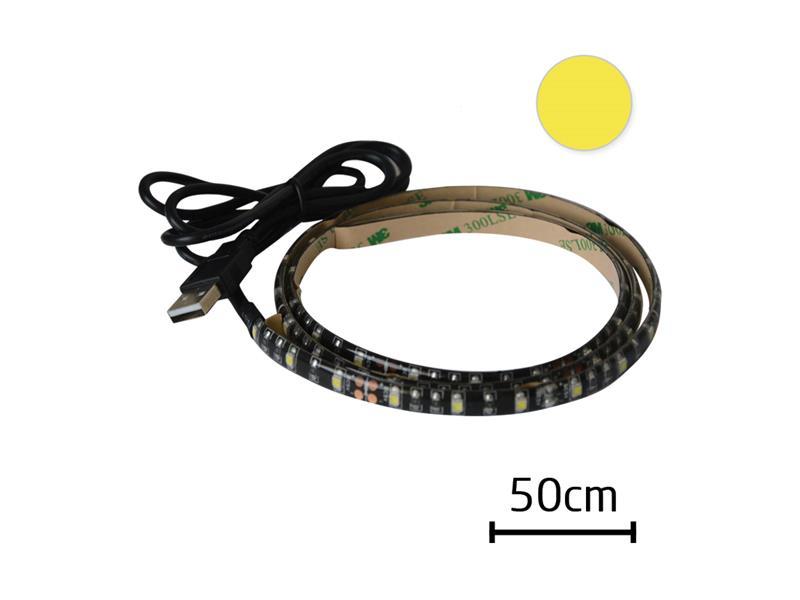 LED pásek s USB, 50 cm, bílá teplá