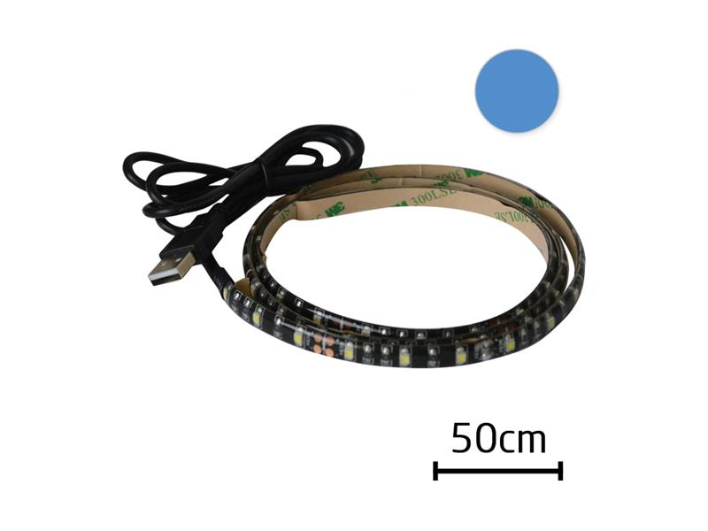 LED pásek s USB, 50 cm, modrá