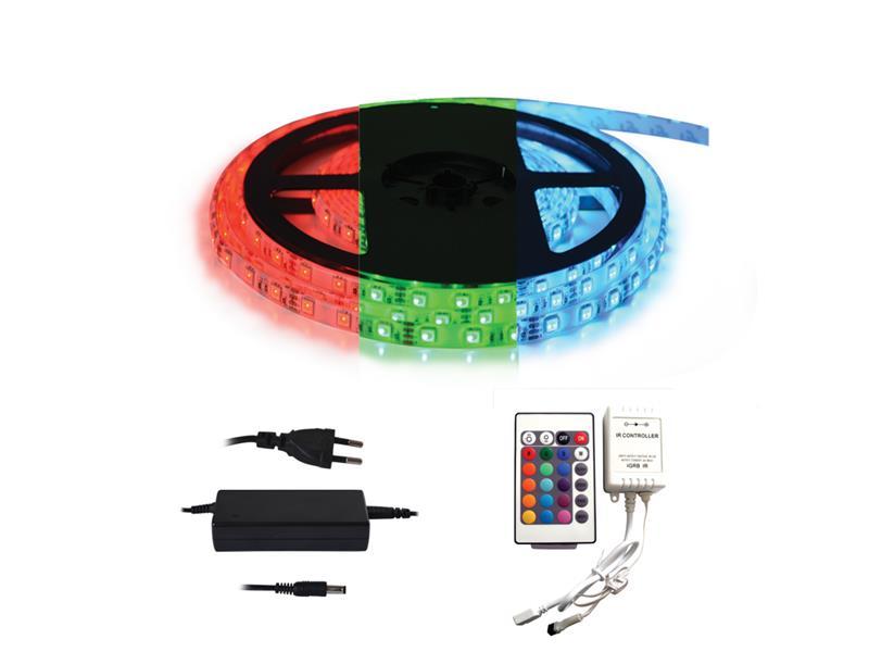 LED pásek 12V 5050 60LED/m IP20 max. 12W/m RGB, sada s 12V adaptérem a dálk. ovladačem