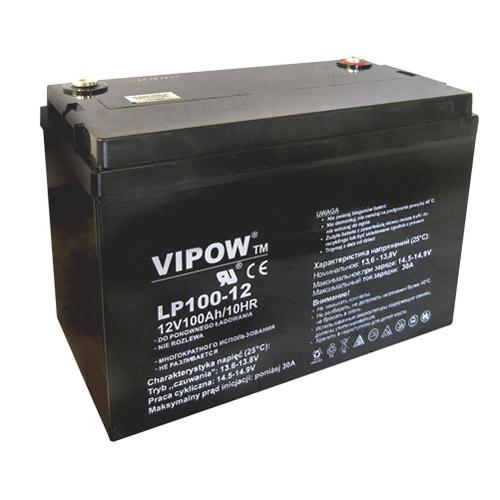 Baterie olověná 12V/100Ah VIPOW bezúdržbový akumulátor