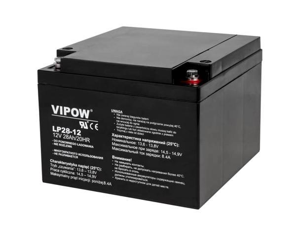 Baterie olověná 12V/28Ah VIPOW bezúdržbový akumulátor