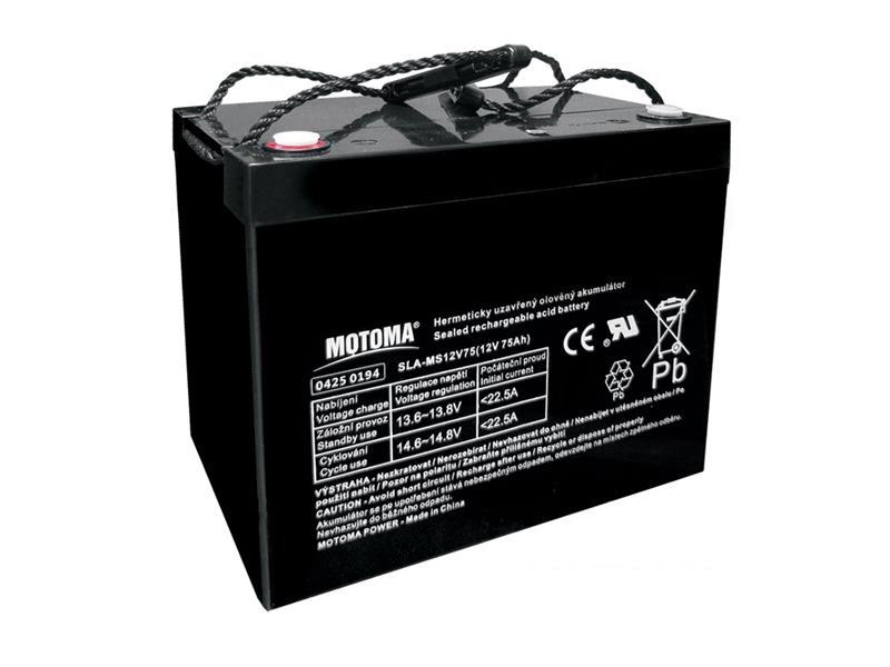 Baterie olověná 12V/75Ah MOTOMA bezúdržbový akumulátor