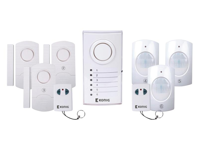 Alarm bezdrátový 3x PIR, 3x dveřní/okenní čidlo KÖNIG SAS-ALARM120
