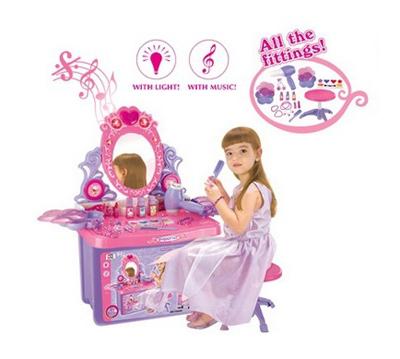 Stolek kosmetický dětský G21 se zrcadlem a zvuky v kufru