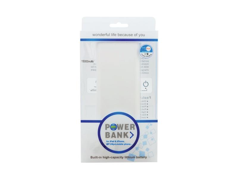 Externí baterie (Power bank) - 15 000 mAh, bílá