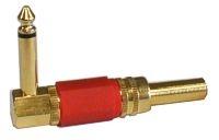 Konektor Jack 6.3 mono úhlový kov zlatý červený
