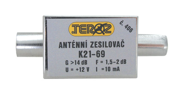 Anténní zesilovač nízkošumový DVB-T 14dB IEC Teroz 406K