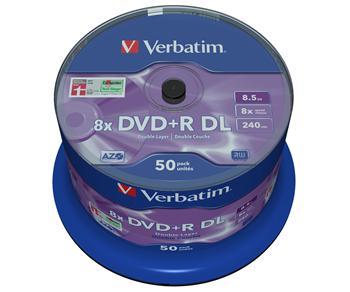 VERBATIM DVD+R 8,5 GB 8x DoubleLayer MATT SILVER spindl 50pck/BAL
