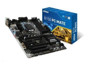 MSI B150 PC MATE, s.1151, B150, 2xPCIe 3.0 x16, 2 x PCI, 4xDDR4, SATAIII, USB 3.1, VGA, HDMI, DVI, ATX