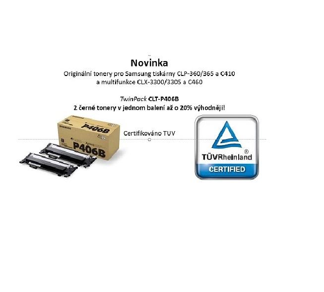 Samsung tonery CLT-P406B/ELS pro CLP-360/365 a C410 a multifunkce CLX-3300/3305 a C460 - 2 Black Tonner Cartridge