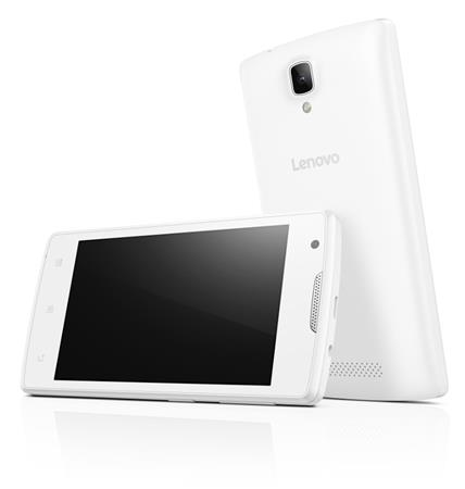 "Lenovo Smartphone A Single SIM/4,0"" TN/800x480/Quad-Core/1,3GHz/512MB/4GB/5Mpx/3G/Android 5.0/White"