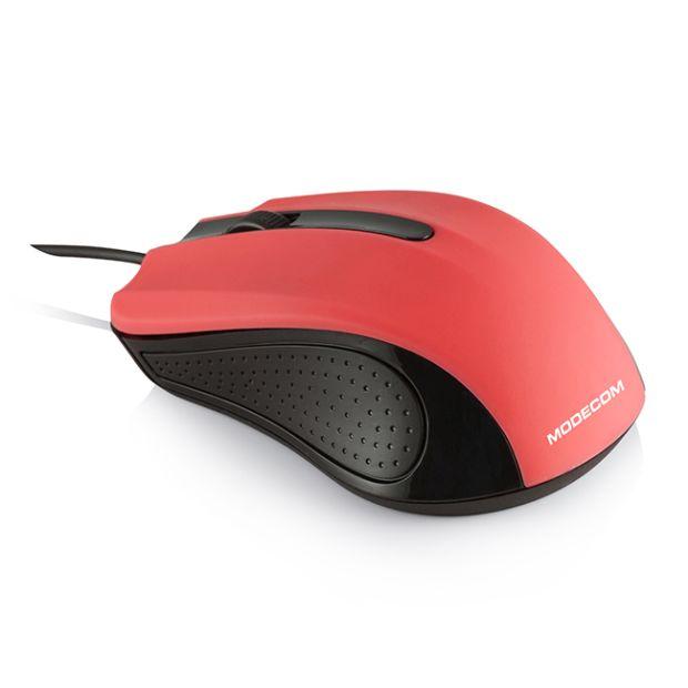 Modecom MC-M9 drátová optická myš, 3 tlačítka, 1000 DPI, USB, červená
