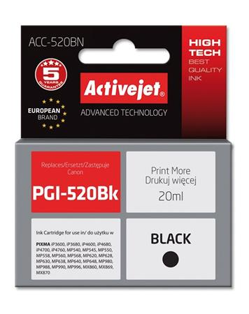 ActiveJet Ink cartridge Canon PGI-520Black (WITH CHIP) ACC-520Bk