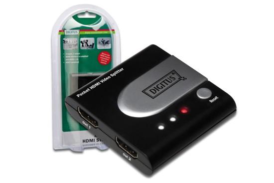 Digitus HDMI pocket elektronický rozbočovač 1 => 2
