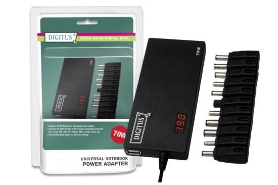 Digitus univerzální napájecí adaptér pro notebooky 70W, 11 konektorů, USB, Slim