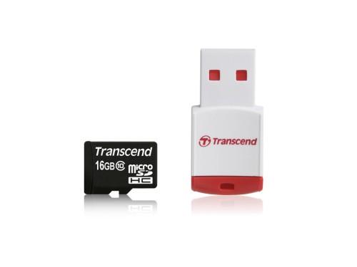 Transcend 16GB microSDHC (Class 10) paměťová karta (s USB adaptérem)