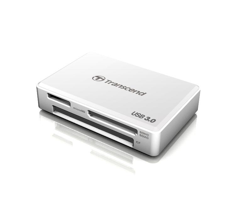 Transcend USB 3.0 čtečka paměťových karet, bílá - CF, Memory Stick (MS), MS Micro (M2), SDHC, SDXC, microSDH
