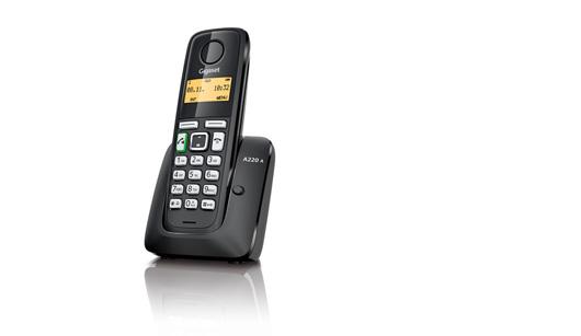 SIEMENS Gigaset A220A - DECT/GAP bezdrátový telefon se záznamníkem, barva černá