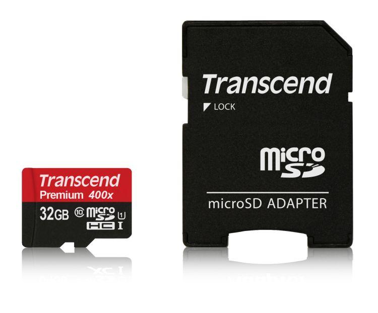 Transcend 32GB microSDHC UHS-I (Class 10) paměťová karta (s adaptérem)