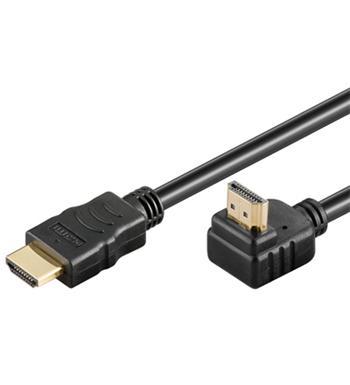 PremiumCord HDMI High Speed+Ethernet kabel, zlacený zahnutý konektor 90° 10m