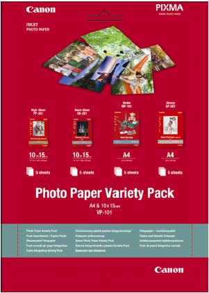 Canon fotopapír Photo Paper Variety Pack A4 & 10x15 (PP SG MP GP) po 5