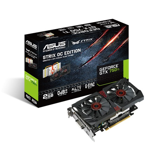 ASUS STRIX-GTX750TI-OC-2GD5, NVIDIA GeForce GTX 750 Ti, GDDR5 2GB, DVI, HDMI, DP