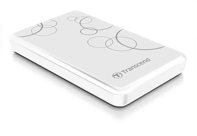 """TRANSCEND 1TB StoreJet A3, USB 3.0, 2.5"""" Stylový externí odolný hard disk, bílý se vzorem"""