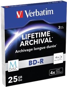 VERBATIM M-DISC BD-R 4X 25GB MATT SILVER SLIM 3pck/BAL
