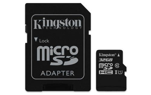 KINGSTON 32GB microSDHC Memory Card 45MB/10MBs- UHS-I class 10 Gen 2 + adaptér