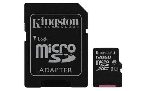 KINGSTON 128GB microSDXC Memory Card 45MB/10MBs- UHS-I class 10 Gen 2 + adaptér
